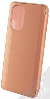1Mcz Clear View flipové pouzdro pro Xiaomi Poco F3 růžová (pink) zezadu