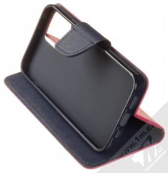 1Mcz Fancy Book flipové pouzdro pro Apple iPhone 12, iPhone 12 Pro růžová modrá (pink blue) stojánek
