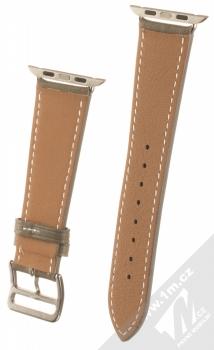 1Mcz Kožený řemínek s přezkou pro Apple Watch 42mm, Watch 44mm šedobéžová (taupe) zezadu