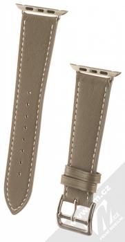 1Mcz Kožený řemínek s přezkou pro Apple Watch 42mm, Watch 44mm šedobéžová (taupe)