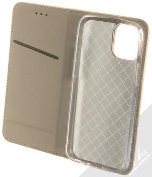 1Mcz Magnet Book flipové pouzdro pro Apple iPhone 12 mini zlatá (gold) otevřené