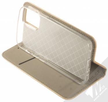 1Mcz Magnet Book flipové pouzdro pro Apple iPhone 12 mini zlatá (gold) stojánek