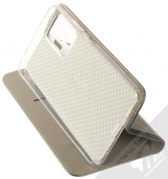 1Mcz Magnetic Book flipové pouzdro pro Xiaomi Redmi Note 10 Pro, Redmi Note 10 Pro Max tmavě zelená (dark green) stojánek
