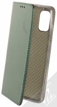 1Mcz Magnetic Book flipové pouzdro pro Samsung Galaxy A41 tmavě zelená (dark green)