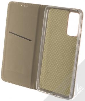1Mcz Magnetic Book flipové pouzdro pro Samsung Galaxy S20 FE růžově zlatá (rose gold) otevřené