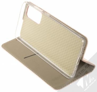 1Mcz Magnetic Book flipové pouzdro pro Samsung Galaxy S20 FE růžově zlatá (rose gold) stojánek