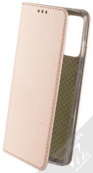 1Mcz Magnetic Book flipové pouzdro pro Samsung Galaxy S20 FE růžově zlatá (rose gold)