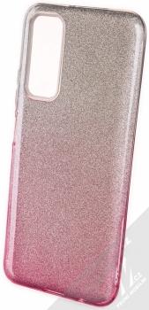 1Mcz Shining Duo TPU třpytivý ochranný kryt pro Huawei P Smart (2021) stříbrná růžová (silver pink)