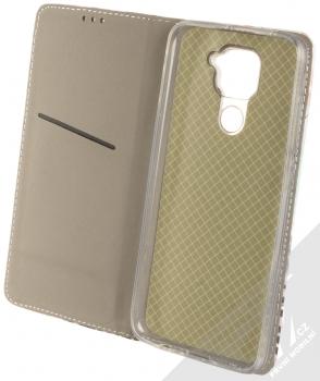 1Mcz Trendy Book Kapradí 3 flipové pouzdro pro Xiaomi Redmi Note 9 bílá růžová (white pink) otevřené