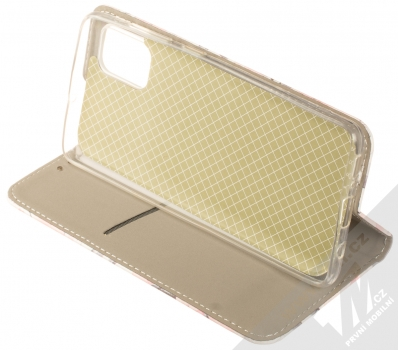 1Mcz Trendy Book Keřík růží 1 flipové pouzdro pro Samsung Galaxy A51 bílá (white) stojánek