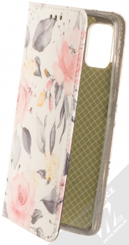 1Mcz Trendy Book Keřík růží 1 flipové pouzdro pro Samsung Galaxy A51 bílá (white)