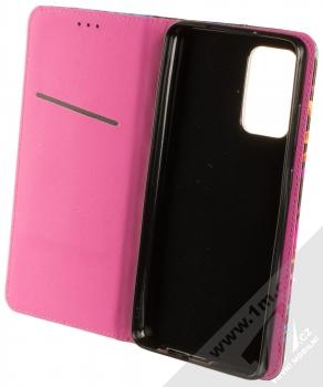 1Mcz Trendy Book Záhon ibišků v noční zahradě 1 flipové pouzdro pro Samsung Galaxy A72, Galaxy A72 5G černá (black) otevřené
