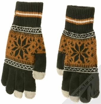 Aligator Touch Gloves Nordic pletené rukavice s motivem pro kapacitní dotykový displej černá hnědá (black brown) zepředu (hřbet ruky)