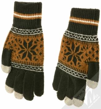 Aligator Touch Gloves Nordic pletené rukavice s motivem pro kapacitní dotykový displej černá hnědá (black brown) zezadu (dlaň ruky)