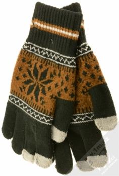 Aligator Touch Gloves Nordic pletené rukavice s motivem pro kapacitní dotykový displej černá hnědá (black brown)