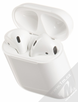 Apple AirPods headset stereo sluchátka bílá (white) pouzdro otevřené