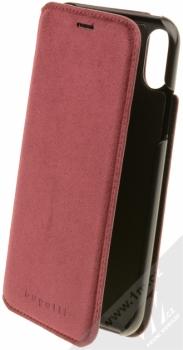 Bugatti Parigi Ultrasuede Booklet Case flipové pouzdro ze semiše pro Apple iPhone X malinově červená (raspberry red)