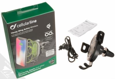 CellularLine Handy Wing Active Wireless univerzální držák s bezdrátovým nabíjením do mřížky ventilace automobilu černá (black) balení