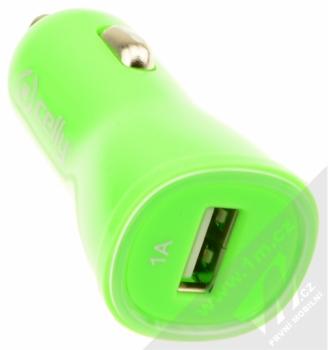 Celly USB Car Charger nabíječka do auta s USB výstupem 1A pro mobilní telefon, mobil, smartphone zelená (green) konektor