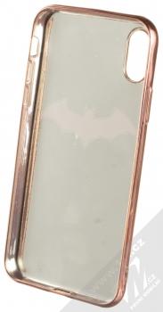 DC Comics Batman 008 TPU pokovený ochranný silikonový kryt s motivem pro Apple iPhone X, iPhone XS bílá růžově zlatá (white rose gold) zepředu