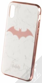 DC Comics Batman 008 TPU pokovený ochranný silikonový kryt s motivem pro Apple iPhone X, iPhone XS bílá růžově zlatá (white rose gold)