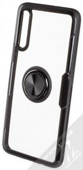 Forcell Carbon Clear Ring ochranný kryt s držákem na prst pro Samsung Galaxy A70 černá (black)