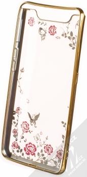 Forcell Diamond Flower TPU ochranný kryt pro Samsung Galaxy A80 zlatá (gold) zepředu