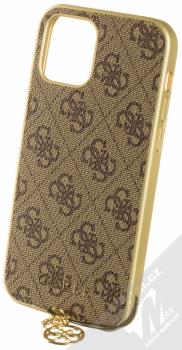 Guess Charms 4G ochranný kryt pro Apple iPhone 12, iPhone 12 Pro (GUHCP12MGF4GBR) hnědá zlatá (brown gold)