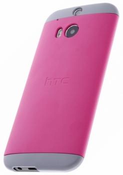 HTC HC C940 Double Dip originální ochranný kryt pro HTC One (M8), One M8s růžovo žlutá (pink yellow) s telefonem zboku