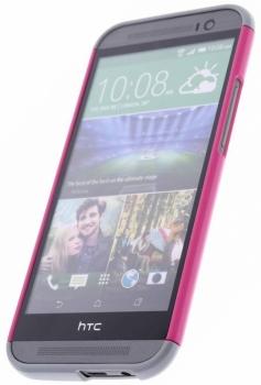HTC HC C940 Double Dip originální ochranný kryt pro HTC One (M8), One M8s růžovo žlutá (pink yellow) s telefonem zepředu