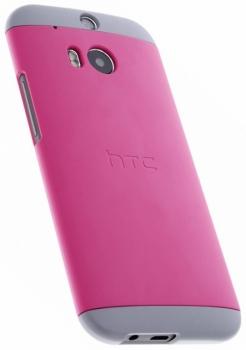 HTC HC C940 Double Dip originální ochranný kryt pro HTC One (M8), One M8s růžovo žlutá (pink yellow) s telefonem zezadu