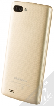iGET Blackview GA20 černá (black) zlatá varianta šikmo zezadu