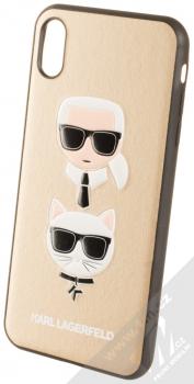 Karl Lagerfeld Karl and Choupette ochranný kryt s motivem pro Apple iPhone XS Max (KLHCI65KICKCSGO) zlatá (gold)
