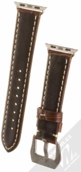 Maikes Crocodile Leather Strap kožený pásek na zápěstí pro Apple Watch 38mm hnědá (brown) zezadu