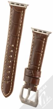 Maikes Crocodile Leather Strap kožený pásek na zápěstí pro Apple Watch 38mm hnědá (brown)
