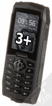 MYPHONE HAMMER 3 PLUS černá (black) šikmo zepředu