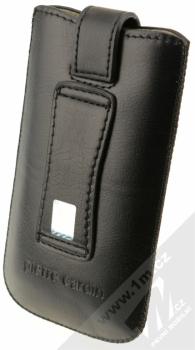 Pierre Cardin SLIM H10-10 vertikální výsuvné kožené pouzdro černá (black) zezadu