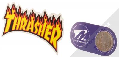 Samolepka Thrasher logo v plamenech 2 měřítko