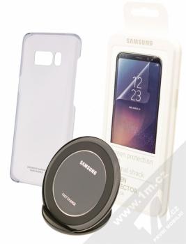 Samsung EP-WG95BBB Starter Kit originální sada stojánku pro bezdrátové nabíjení, ochranného krytu a fólie pro Samsung Galaxy S8 černá černá (black black)