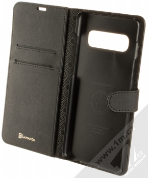 Spigen La Manon Wallet flipové pouzdro pro Samsung Galaxy S10 Plus černá (saffiano black) otevřené