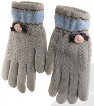 URan Touch Gloves Floret pletené rukavice pro kapacitní dotykový displej šedá (grey) zezadu