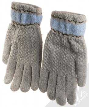 URan Touch Gloves Floret pletené rukavice pro kapacitní dotykový displej šedá (grey) zepředu