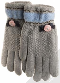 URan Touch Gloves Floret pletené rukavice pro kapacitní dotykový displej šedá (grey)