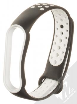 1Mcz Dots Double Color Silikonový sportovní řemínek pro Xiaomi Mi Band 5, Mi Band 6 černá bílá (black white)