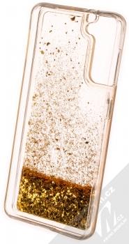 1Mcz Liquid Diamond Sparkle ochranný kryt s přesýpacím efektem třpytek pro Samsung Galaxy S21 zlatá (gold) zepředu