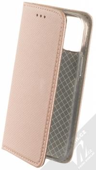 1Mcz Magnet Book flipové pouzdro pro Apple iPhone 12 mini růžově zlatá (rose gold)