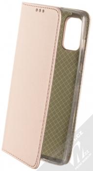 1Mcz Magnetic Book flipové pouzdro pro Samsung Galaxy A41 růžově zlatá (rose gold)
