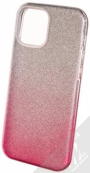 1Mcz Shining Duo TPU třpytivý ochranný kryt pro Apple iPhone 12, iPhone 12 Pro stříbrná růžová (silver pink)