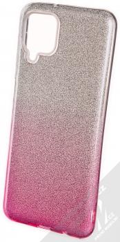 1Mcz Shining Duo TPU třpytivý ochranný kryt pro Samsung Galaxy A12, Galaxy M12 stříbrná růžová (silver pink)