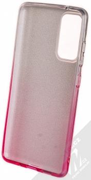 1Mcz Shining Duo TPU třpytivý ochranný kryt pro Samsung Galaxy S20 FE stříbrná růžová (silver pink) zepředu